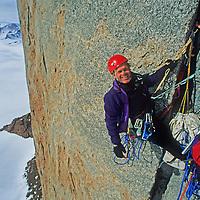 "Rick Ridgeway waits to climb a rope on Rakekniven (""The Razor""), a huge overhanging big wall in Queen Maud Land, Antarctica."