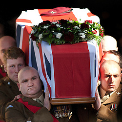 © under licence to London News Pictures. The funeral took place earlier today of Pte Conrad Lewis 4 PARA, at St Mary`s Church, Warwick. Pte Lewis died from gun shot wounds received whilst on patrol in Helmand province on 9 February 2011. Pictured, the coffin leaves the church..Picture credit: Dave Warren/London News Pictures...