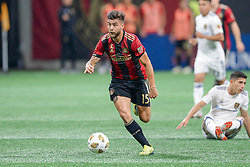 September 22, 2018 - Atlanta, GA, U.S. - ATLANTA, GA Ð SEPTEMBER 22:  Atlanta's Hector Villalba (15) moves the ball up the field during the match between Atlanta United and Real Salt Lake on September 22nd, 2018 at Mercedes-Benz Stadium in Atlanta, GA.  Atlanta United FC defeated Real Salt Lake by a score of 2 to 0.  (Photo by Rich von Biberstein/Icon Sportswire) (Credit Image: © Rich Von Biberstein/Icon SMI via ZUMA Press)