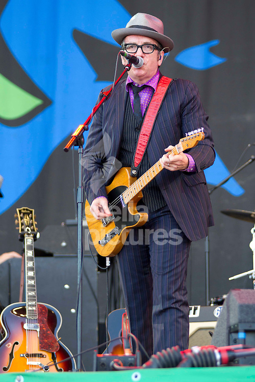 Picture by Sophie Elbourn/Stella Pictures Ltd +447595 944177<br /> 29/06/2013<br /> Elvis Costello performs during day three of Glastonbury Festival at Worthy Farm, Pilton.