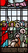 Detail of stained glass window depicting Jesus Christ and Apostles by Margaret Edith Aldrich Rope ( 1891-1988), Church of Saint Margaret, Leiston, Suffolk, England, UK