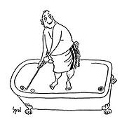 (Man playing golf in a bathtub)