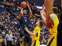 Mar 20, 2019; Morgantown, WV, USA; Grand Canyon Antelopes guard Damari Milstead (11) shoots during the first half against the West Virginia Mountaineers at WVU Coliseum. Mandatory Credit: Ben Queen