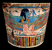 Part of an outer coffin casing, Egyptian. The coffin is that of Pekherkhonsu. New Kingdom, reign of Ramses II, ca. 1279–1213 B.C.  From the tomb of Sennedjem, Deir el-Medina, western Thebes. Gessoed and painted wood. Khonsu's coffins are decorated with images of various gods and goddesses