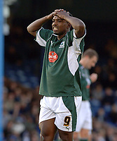 Photo: Ashley Pickering.<br />Southend United v Plymouth Argyle. Coca Cola Championship. 18/11/2006.<br />Plymouth's Sylan Ebanks-Blake shows his disappointment at a wasted chance