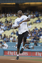 August 16, 2017 - Los Angeles, California, U.S - 16 Aug 2017. The Los Angeles Dodgers play the Chicago White Sox in the second game of a two-game series at Dodger Stadium. Pictured is Laker Corey Brewer pitching the ceremonial pitch on Laker night at Dodger Stadium. (Credit Image: © Prensa Internacional via ZUMA Wire)