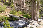 A backpacker takes a break along the John Muir Trail, Duck Creek Bridge, John Muir Wilderness, Sierra National Forest, Sierra Nevada Mountains, California, USA.