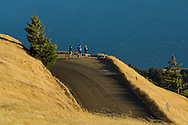 Bicyclists looking out over the ocean from Bolinas Ridge, Mount Tamalpais State Park, Marin County, California