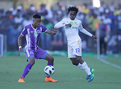 22042018 (Durban) Sundwns player Percy tau fighting for a ball during Maritzburg United FC make their way to the final of the Nedbank when playing against Mamelodi Sundowns FC at the Harry Gwala Stadium in Pietermaritzburg, KZN yesterday.<br /> Picture: Motshwari Mofokeng/ANA