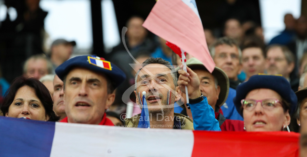 London, August 09 2017 . French supporters in the crowd on day six of the IAAF London 2017 world Championships at the London Stadium. © Paul Davey.
