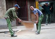 Workmen sifting sand, Havana, Cuba
