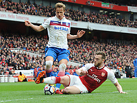 Football - 2017 / 2018 Premier League - Arsenal vs. Stoke City<br /> <br /> Moritz Bauer of Stoke and Calum Chambers of Arsenal, at The Emirates.<br /> <br /> COLORSPORT/ANDREW COWIE