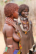Portrait of a young Woman of the Hamer Tribe The hair is coated with ochre mud and animal fat Photographed in the Omo River Valley, Ethiopia