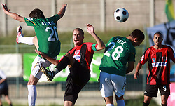 Vladimir Ostojic (4) of Primorje between Alem Mujakovic (20) of Rudar and Ozren Peric of Rudar at 6th Round of PrvaLiga Telekom Slovenije between NK Primorje Ajdovscina vs NK Rudar Velenje, on August 24, 2008, in Town stadium in Ajdovscina. Primorje won the match 3:1. (Photo by Vid Ponikvar / Sportal Images)