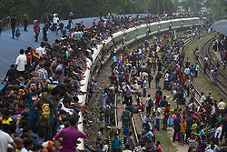 June 14, 2018 - Dhaka, Bangladesh - Bangladeshis  travel by train as they going their home to be with their families ahead of the Muslim festival of Eid al-Fitr, in Dhaka. Eid al-Fitr, the biggest Muslim festival celebrates the end of the holy fasting month of Ramadan. (Credit Image: © K M Asad via ZUMA Wire)