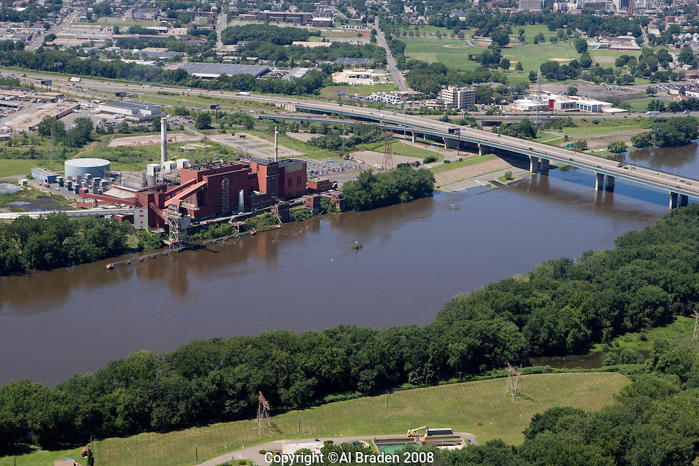 Power plant on Connecticut River south of Hartford at Charter Oak Bridge, Hartford, CT