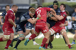 September 22, 2018 - Galway, Ireland - Ultan Dillane and Sean O'Brien of Connacht fight with Wyn Jones and Ed Kennedy of Scarlets during the Guinness PRO14 match between Connacht Rugby and Scarlets at the Sportsground in Galway, Ireland on September 22, 2018  (Credit Image: © Andrew Surma/NurPhoto/ZUMA Press)