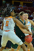 March 18, 2016; Tempe, Ariz;  Green Bay Phoenix guard Kaili Lukan (4) tries to get into the paint during a game between No. 7 Tennessee Lady Volunteers and No. 10 Green Bay Phoenix in the first round of the 2016 NCAA Division I Women's Basketball Championship in Tempe, Ariz.