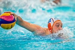 Jesse Koopman of the Netherlands in action against of France during the Olympic qualifying tournament. The Dutch water polo players are on the hunt for a starting ticket for the Olympic Games on February 17, 2021 in Rotterdam