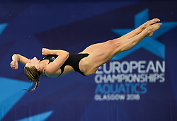 Gold medal winner Grace Reid (Great Britain) completing her final dive in the Women's 3m Springboard Final during day ten of the 2018 European Championships at the Royal Commonwealth Pool, Edinburgh.