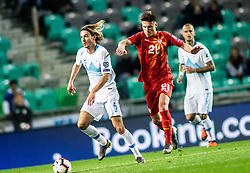 Rene Krhin of Slovenia vs Eljif Elmas of Macedonia during football match between National teams of Slovenia and North Macedonia in Group G of UEFA Euro 2020 qualifications, on March 24, 2019 in SRC Stozice, Ljubljana, Slovenia.  Photo by Matic Ritonja / Sportida