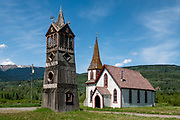 """1882 St. Paul's Anglican (Episcopal) Church, in Kitwanga or Gitwangak (or Gitwangax, """"people of the place of rabbits"""" in the Gitxsan language), in British Columbia, Canada. Kitwanga is at the southern end of the scenic Stewart–Cassiar Highway (Highway 37, aka Dease Lake Highway or Stikine Highway, the northwesternmost highway in BC), just 4 km north of the Yellowhead Highway (Hwy 16). A long-standing village before contact, Kitwanga is within Gitwangak Indian Reserve No. 1."""