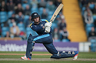 Jonny Bairstow (Yorkshire CCC) sweeps the ball, watching it race to the boundary and reaches his century having faced less than 80 balls during the Royal London 1 Day Cup match between Yorkshire County Cricket Club and Durham County Cricket Club at Headingley Stadium, Headingley, United Kingdom on 3 May 2017. Photo by Mark P Doherty.