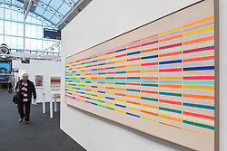 "© Licensed to London News Pictures. 17/01/2017. London, UK. ""Colour Barrier No. II"" by John Plumb (GBP25,000), on display at the preview of the 29th London Art Fair, the UK's premier fair for Modern British and contemporary art, taking place at the Business Design Centre in Islington from 18-22 January 2017, where 129 galleries from 18 different countries will be presenting their artworks. Photo credit : Stephen Chung/LNP"