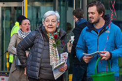 London, UK. 14th February, 2019. Candy Udwin (c) shows solidarity on a Valentine's Day-themed picket line outside the Department of Business, Energy and Industrial Strategy (BEIS) with outsourced support staff from the Public & Commercial Services (PCS) union taking strike action to demand the London Living Wage and an end to outsourcing.