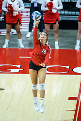 BLOOMINGTON, IL - October 23: Nora Janka serves during a college Women's volleyball match between the ISU Redbirds and the Drake Buldogs on October 23 2021 at Illinois State University in Normal, IL. (Photo by Alan Look)