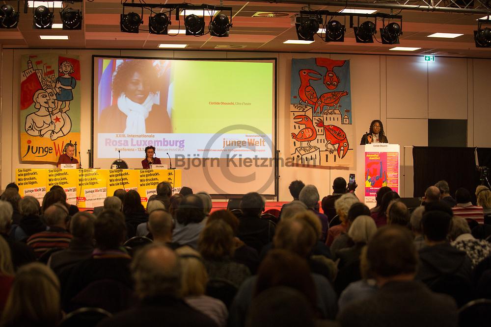 Berlin, Germany - 13.01.2018<br /> <br /> Clotilde Ohouochi, ehem. Sozialministerin Elfenbeinküste. Eindruecke von der Rosa Luxemburg Konferenz 2018 im MOA Bogen Berlin.<br /> <br /> Photo: Bjoern Kietzmann
