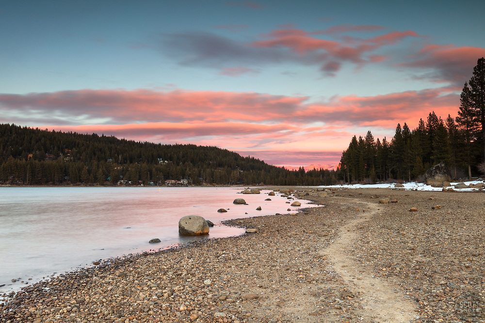 """""""Donner Lake Sunset 55"""" - Sunset photograph of a trail along the South East shore of Donner Lake in Truckee, California."""