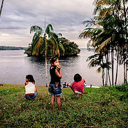 River community along the Rio Negro, Amazonia near the triple border Brazil, Colombia and Venezuela