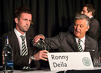 21/11/14<br /> CELTIC PARK - GLASGOW<br /> Celtic manager Ronny Deila (left) and club Chief Executive Peter Lawwell speak as they hold their 2014 AGM.