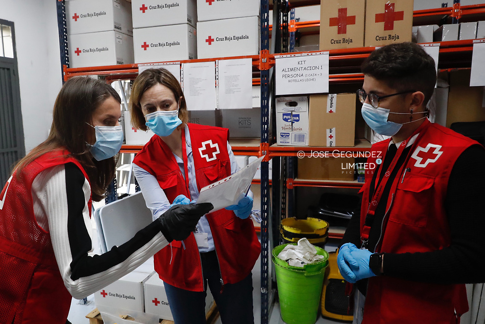 Queen Letizia of Spain visits Red Cross facilities on May 11, 2020 in Madrid, Spain