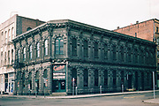 CS00331-08. Corley Sawmill Machinery, the building facing Skidmore Fountain, 106 SW 1st St., Portland.  This is known as the Ladd & Tilton Bank, built in 1868, demolished in 1954. This was one of the finest cast iron buildings in Portland.