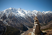 A pile of rocks to mark the top of a mountain on 20th October 2009, Himachal Pradesh, India. The region of Spiti and Kinnaur is a remote and tribal area of the Indian Himalayas near the Tibetan border.