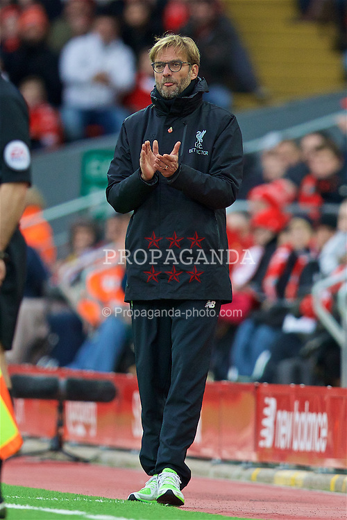 LIVERPOOL, ENGLAND - Sunday, November 6, 2016: Liverpool's manager Jürgen Klopp during the FA Premier League match against Watford at Anfield. (Pic by David Rawcliffe/Propaganda)