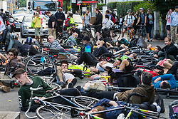 London, August 28th 2017. Cyclists hold a protest and 'Die-in' vigil for Ardian 'Sam' Zagani, a cyclist who was killed on a dangerous stretch of 30mph Camden Road at the junction with Hilldrop Crescent at 6am on Tuesday, 29th August. © Paul Davey.