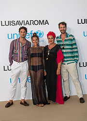 Marco Missoni, Margherita Missoni, Angela Missoni, Francesco Macappani arriving at a photocall for the Unicef Summer Gala Presented by Luisaviaroma at Villa Violina on August 10, 2018 in Porto Cervo, Italy. Photo by Alessandro Tocco/ABACAPRESS.COM