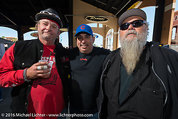 """Phil Zee, Ray Llanes and Willie Jones at at Warren Lane's """"True Grit"""" pre-1977 vintage show at the Jester's Pavillion at Destination Daytona during the Daytona Bike Week 75th Anniversary event. FL, USA. Sunday March 6, 2016.  Photography ©2016 Michael Lichter."""