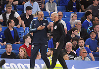 Football - 2018/ 2019 Premier League - Chelsea vs Burnley<br /> <br /> Chelsea Manager,Maurizio Sarri is told to leave the Field by the 4th official after being sent off the pitch by Referee, Kevin Friend at Stamford Bridge<br /> <br /> Colorsport  / Andrew Cowie