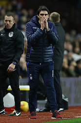 """Nottingham Forest manager Aitor Karanka during the Sky Bet Championship match at Villa Park, Birmingham. PRESS ASSOCIATION Photo. Picture date: Wednesday November 28, 2018. See PA story SOCCER Villa. Photo credit should read: Aaron Chown/PA Wire. RESTRICTIONS: EDITORIAL USE ONLY No use with unauthorised audio, video, data, fixture lists, club/league logos or """"live"""" services. Online in-match use limited to 120 images, no video emulation. No use in betting, games or single club/league/player publications."""