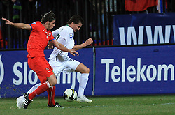 Andraz Kirm of Slovenia vs Zdenek Grygera of Czech Republic  at the 8th day qualification game of 2010 FIFA WORLD CUP SOUTH AFRICA in Group 3 between Slovenia and Czech Republic at Stadion Ljudski vrt, on March 28, 2008, in Maribor, Slovenia. Slovenia vs Czech Republic 0 : 0. (Photo by Vid Ponikvar / Sportida)