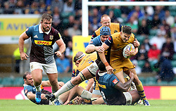 Will Cliff of Bristol Rugby runs through the tackle from Kyle Sinckler of Harlequins - Mandatory by-line: Robbie Stephenson/JMP - 03/09/2016 - RUGBY - Twickenham - London, England - Harlequins v Bristol Rugby - Aviva Premiership London Double Header