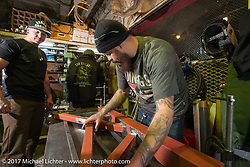 "Cristian Sosa building one of his power hammers for Kaichiroh ""Kross"" Kurosu's Cherry's Company shop. Tokyo, Japan. Thursday December 7, 2017. Photography ©2017 Michael Lichter."