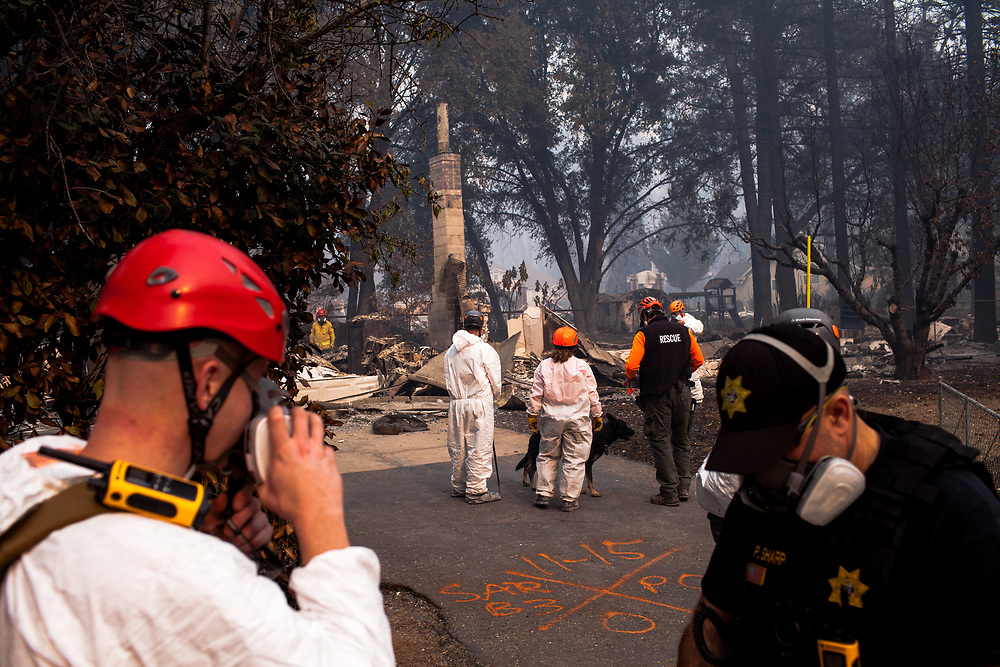 Sonoma and Monterey counties' search and rescue teams continue a search for missing people days after the CampFire in Paradise, California, Thursday, November 15, 2018.<br /> <br /> The fire killed 85 people and two others still remain missing according to Butte County officials. It is now considered the deadliest wildfire in California history.