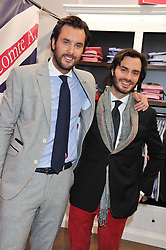 Left to right, VICOMTE ARTUR de SOULTRAIT and his brother VICOMTE MARCY de SOULTRAIT at the launch party for the Vicomte A boutique in London at 113 King's Road, London SW3 on 13th December 2012.