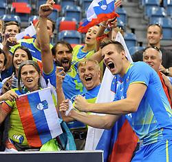 Jan Kozamernik and fans of Slovenia during the CEV Volleyball European Championship game Poland - Slovenia on August 30, 2017 in Krakow, Poland. (Photo by Krzysztof Porebski / Press Focus)