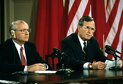 United States President George H.W. Bush, right, and President Mikhail Gorbachev of the Union of Soviet Socialist Republics, left, hold a joint press conference at the conclusion of their summit in the East Room of the White House in Washington, DC on Sunday, June 3, 1990. Photo by Ron Sachs / CNP /ABACAPRESS.COM